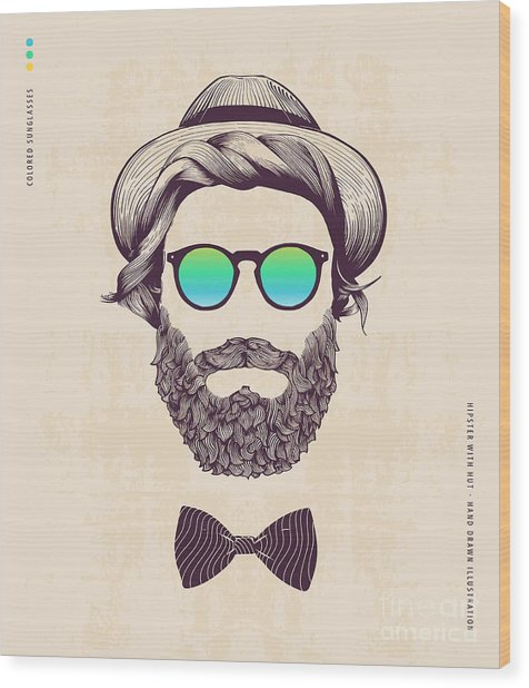 Hipster With Hat And Jazz-bow Wood Print by Blau Ananas