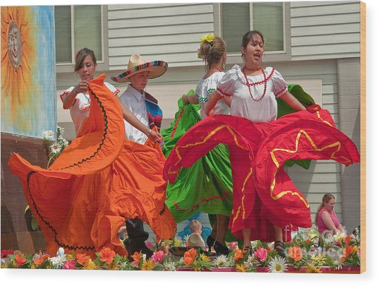 Hispanic Women Dancing In Colorful Skirts Art Prints Wood Print