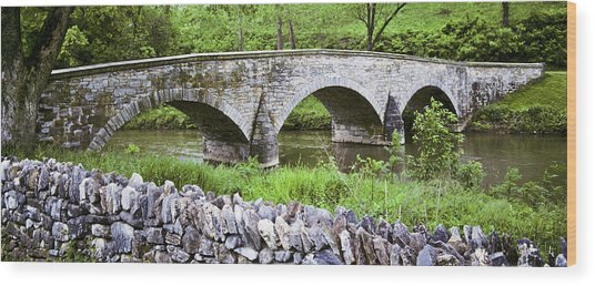 Historic Burnside Bridge And Stone Wall Wood Print