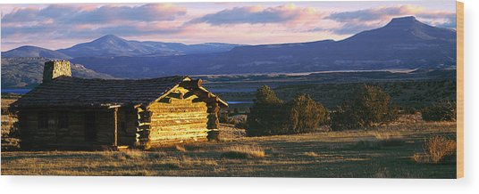 Historic Cabin At Ghost Ranch, Abiquiu Wood Print