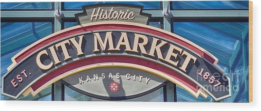 Historic City Market Sign  Wood Print