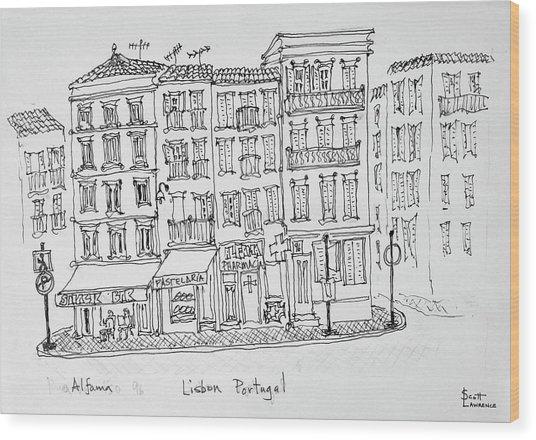 Historic District Of Alfama, Lisbon Wood Print
