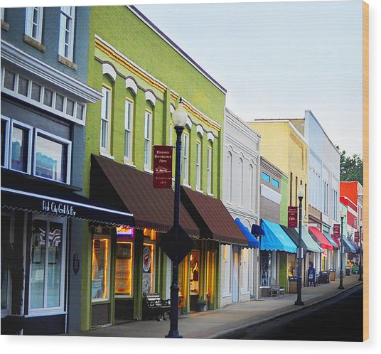 Historic Downtown Apex Wood Print