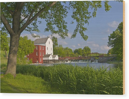 Historic Flour Mill By A River Wood Print