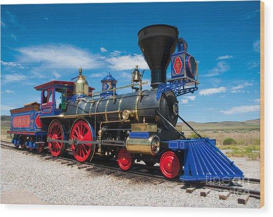 Historic Jupiter Steam Locomotive - Promontory Point Wood Print