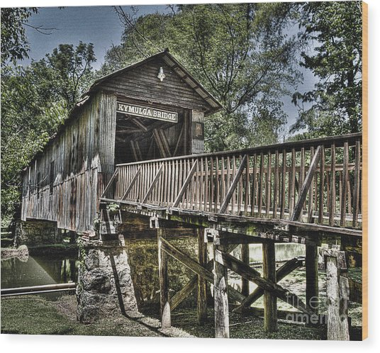 Historic Kymulga Covered Bridge Wood Print