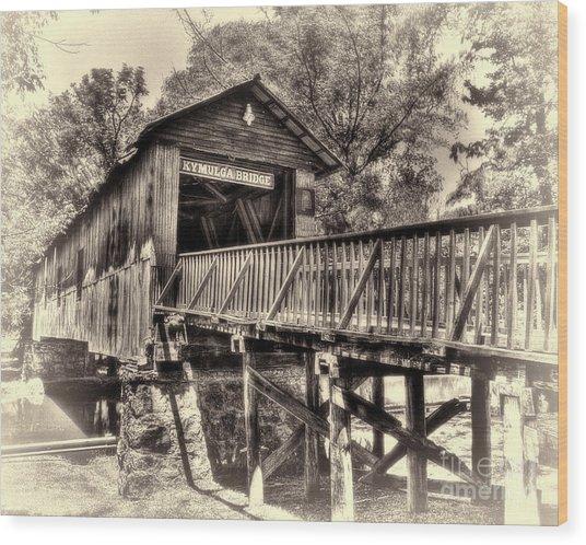 Historic Kymulga Covered Bridge Toned Wood Print