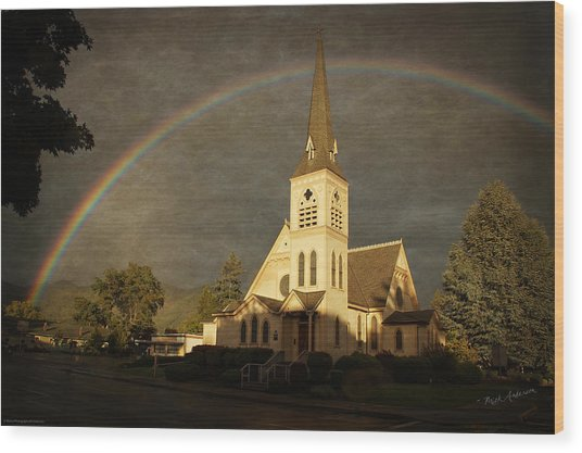 Historic Methodist Church In Rainbow Light Wood Print