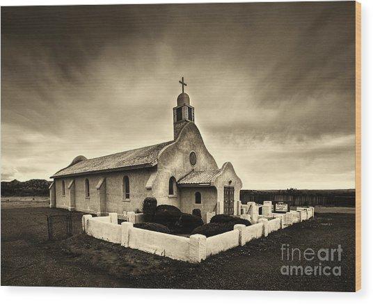 Historic Old Adobe Spanish Style Catholic Church San Ysidro New Mexico Wood Print