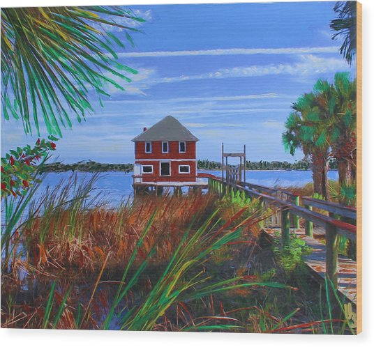 Wood Print featuring the mixed media Historic Ormond Boathouse by Deborah Boyd