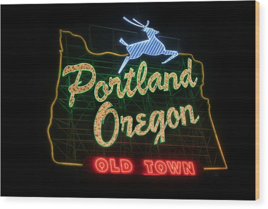 Historic Portland Oregon Old Town Sign Wood Print