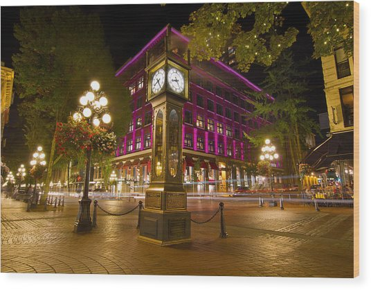 Historic Steam Clock In Gastown Vancouver Bc Wood Print