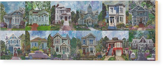 Historical Homes Wood Print