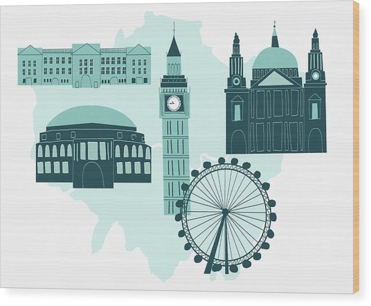 Historical London Landmarks Wood Print