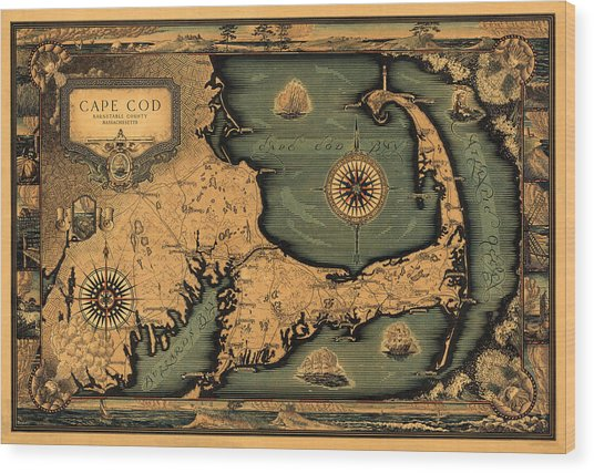Historical Map Of Cape Cod Wood Print