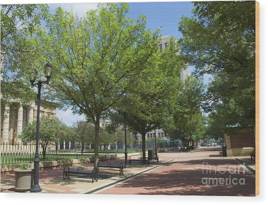 Lincoln Square Springfield Il - Luther Fine Art Wood Print