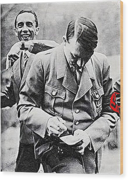 Hitler And Goebbels  As The German Chancellor Signs An Autograph  Wood Print