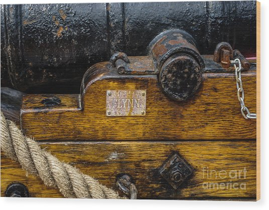 Hms Bounty Flynn Cannon Wood Print
