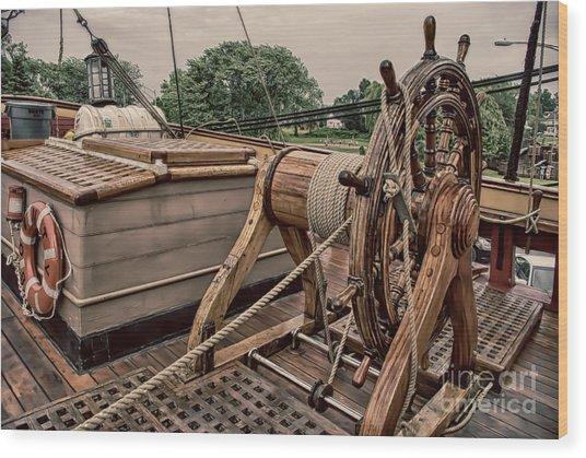 Hms Bounty Steering II Wood Print