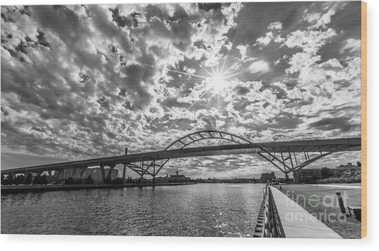 Hoan Bridge Peak Thru Wood Print