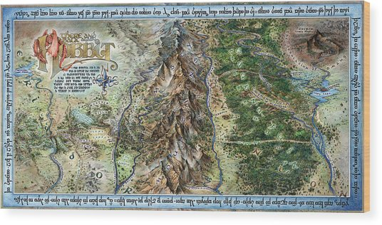hobbit map wood print by tom koval