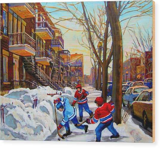 Hockey Art - Paintings Of Verdun- Montreal Street Scenes In Winter Wood Print