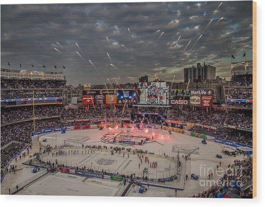 Hockey At Yankee Stadium Wood Print
