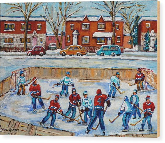 Hockey Rink At Van Horne Montreal Wood Print