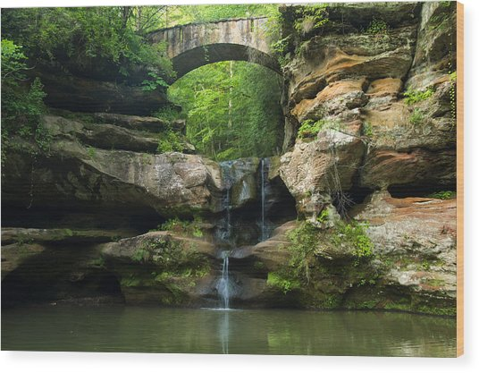 Hocking Hills Waterfall 1 Wood Print