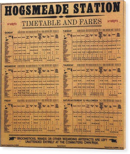 Hogsmeade Station Timetable Wood Print