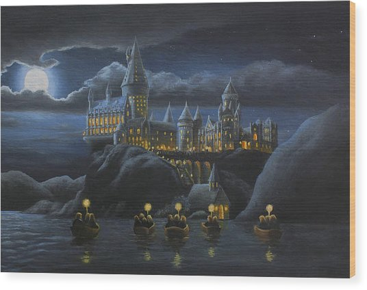 Hogwarts At Night Wood Print