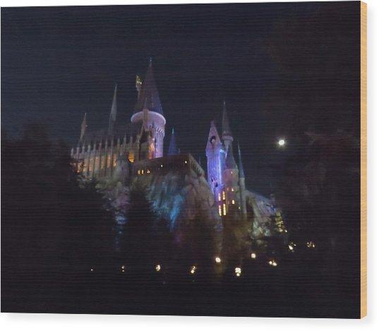 Hogwarts Castle In Lights Wood Print