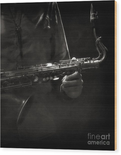 Hold On To Your Sax Wood Print by Michel Verhoef
