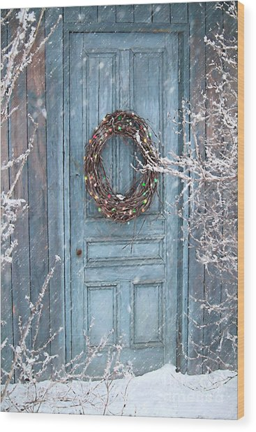 Barn Door And Holiday Wreath/digital Painting Wood Print