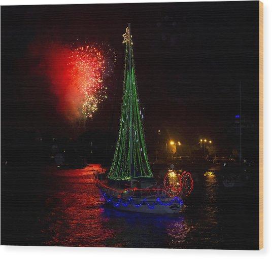 Holiday Boat Parade Wood Print
