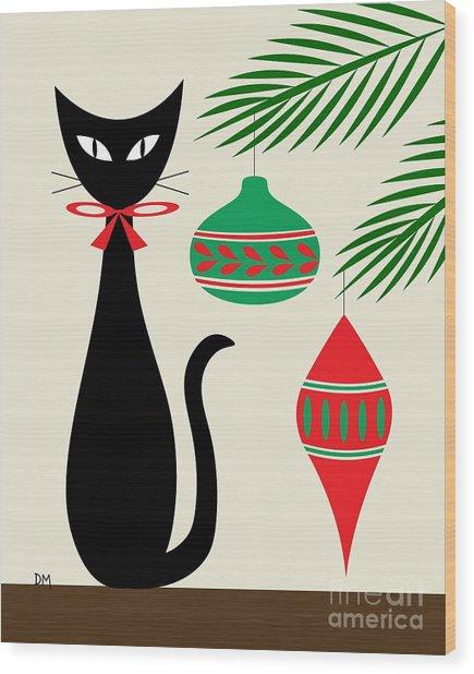Holiday Cat On Cream Wood Print