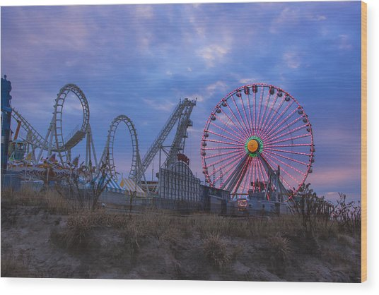 Holiday Ferris Wheel Wood Print