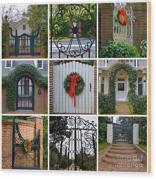 Holiday Gates Of Aiken's Winter Colony Wood Print