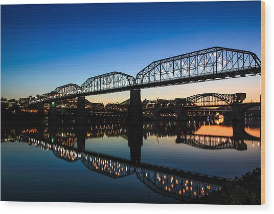 Holiday Lights Chattanooga Wood Print