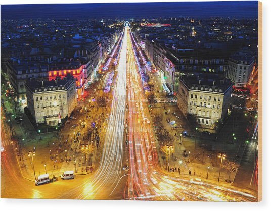 Holiday Lights On The Champs-elysees Wood Print