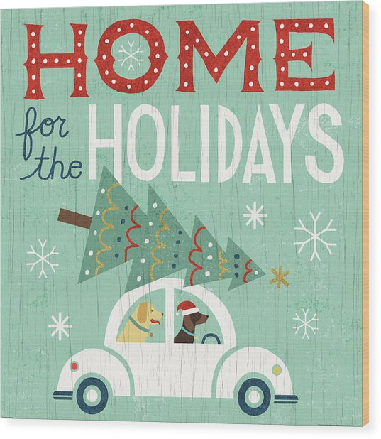 Holiday On Wheels I Wood Print