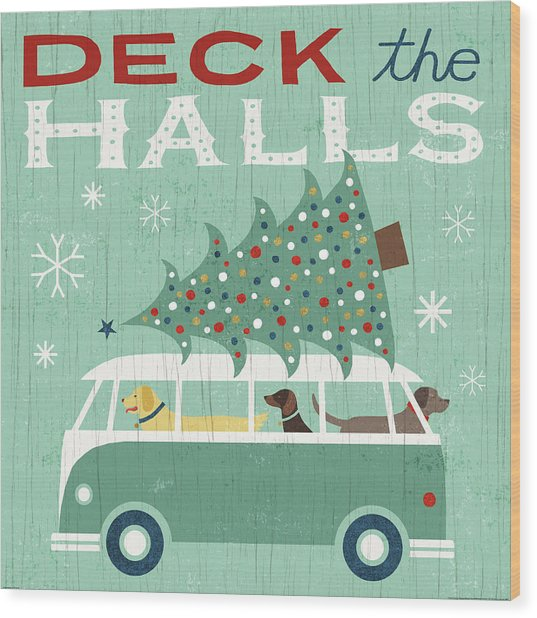 Holiday On Wheels Iv Wood Print