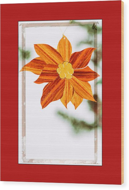 Holiday Pointsettia Art Ornament In Red Wood Print