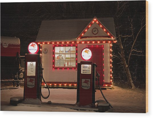 Holiday Service Station Wood Print