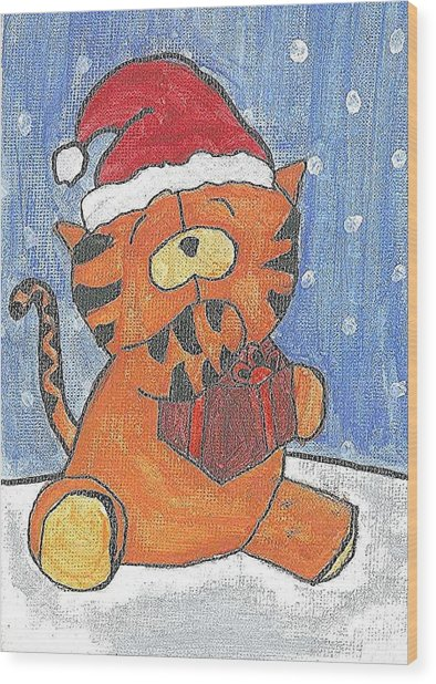 Holiday Tiger Wood Print by Fred Hanna