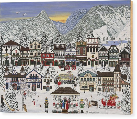 Holiday Village Wood Print