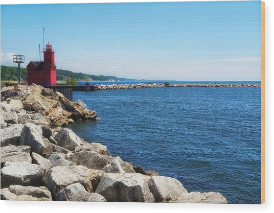 Holland Harbor Light Wood Print