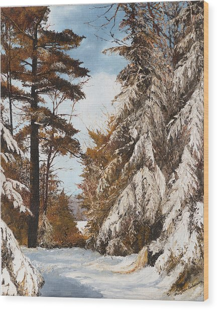 Holland Lake Lodge Road - Montana Wood Print