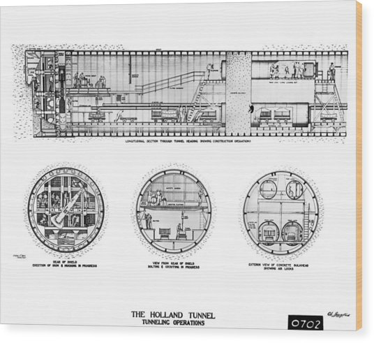 Holland Tunnel Construction Wood Print