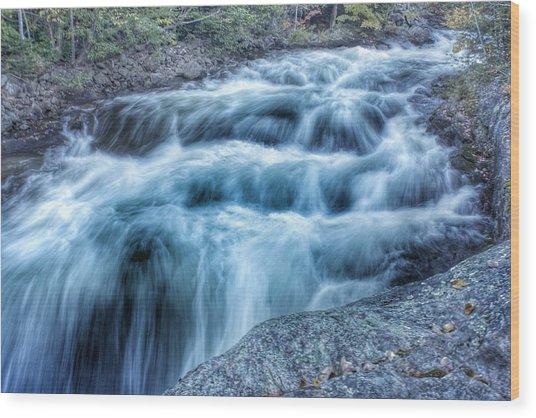 Hollow River Rapids Wood Print by Lee Burgess